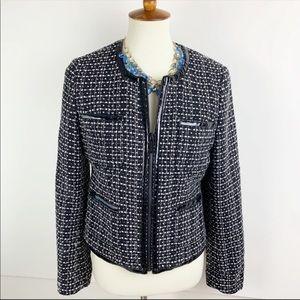 M Michael Kors Black Leather Tweed Blazer B1582